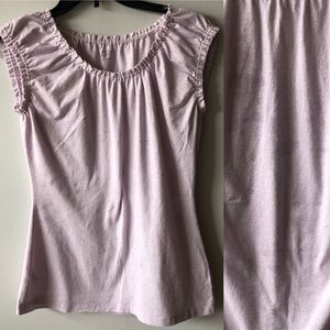 LOFT Purple and Silver Gathered Detail Top
